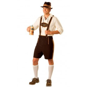 Mens Brown Oktoberfest/Bavarian Man Fancy Dress Costume