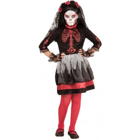 Girls Day Of The Dead Bride Halloween Fancy Dress Costume