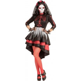 Ladies Day Of The Dead Festival Bride Halloween Fancy Dress Costume