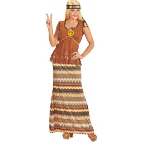 Ladies 60's Hippie Woman Fancy Dress Costume