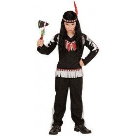 Boys Black Native American Fancy Dress Costume