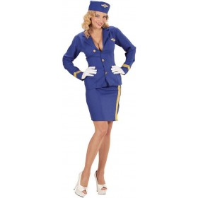 Ladies Blue Flight Attendant Fancy Dress Costume