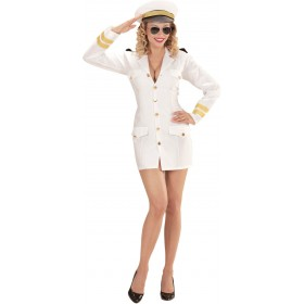 Ladies White Navy Captain/Officer/Sailor Fancy Dress Costume