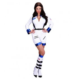 Ladies White Space Mission Astronaut Fancy Dress Costume