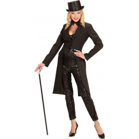 Ladies Long Black Tailcoat Fancy Dress Costume