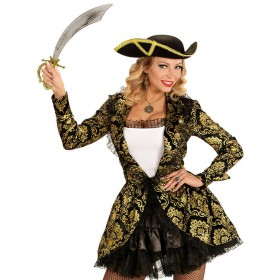 Ladies Golden Pirate Captain Fancy Dress Costume