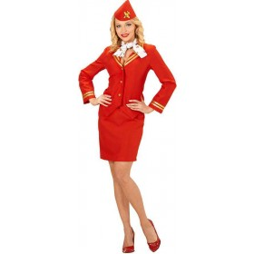 Ladies Red Flight Attendant Fancy Dress Costume