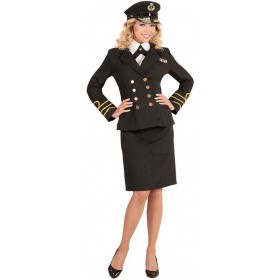 Ladies Black Navy Officer Uniform Fancy Dress Costume