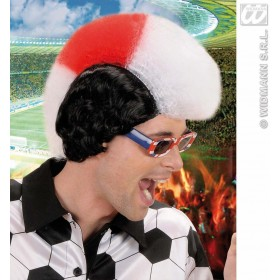 Supporter Man Wig - White - Red - White - Fancy Dress