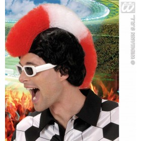 Supporter Man Wig - Red - White - Red - Fancy Dress