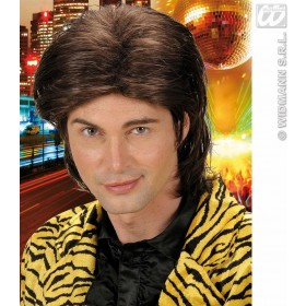 Wet Look Hair Man Wig - Brown - Fancy Dress