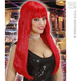 Glitzy Glamour Wig With Tinsel - Red - Fancy Dress