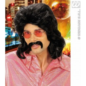 70S Man Wig & Moustache - Black - Fancy Dress (1970S)