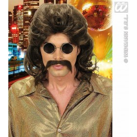 70S Man Wig & Moustache - Brown - Fancy Dress (1970S)