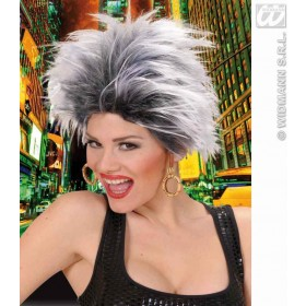 Urban Vibe Wig W/Earrings - White/Black - Fancy Dress