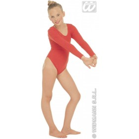 Leotard Girls W/Sleeves Red Fancy Dress Costume