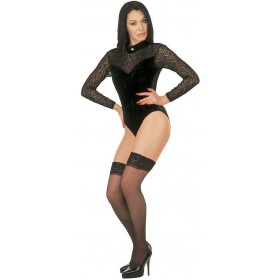 Lady Leotard Velvet/Lace High Neck Black - Fancy Dress