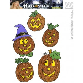 Sets 5 Asstd Pumpkin Window Stickers - Fancy Dress (Halloween)