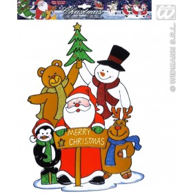 Merry Xmas Santa'S Family Window Sticker, Fancy Dress (Christmas)