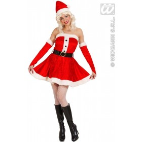 Velvet & Plush Miss Santa Fancy Dress Costume Ladies (Christmas)