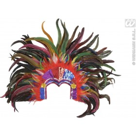Tropicana Sequin Headdress Multicolor Feath Fancy Dress