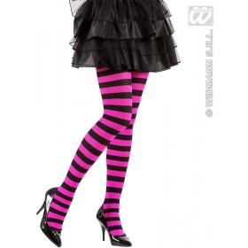 Pantyhose Black - Pink Striped 70 Den - Fancy Dress
