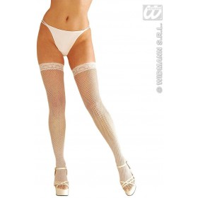 Xl White Lace Top Fishnet Thigh Highs - Fancy Dress (Christmas)