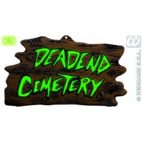 3D Neon Deadend Cemetery Signs - 43X24Cm - Fancy Dress (Halloween)