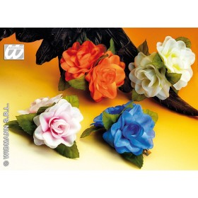 Hairclip 2 Roses 4 Cols Asstd - Fancy Dress