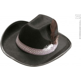 Child Size Black Felt Cowboy Hat W/Feathers Fancy Dress