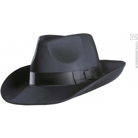 Gangster Hat Satin - Black - Fancy Dress