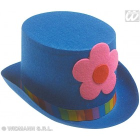 Clown Top Hat W/Flowers 4 Cols - Fancy Dress (Clowns)