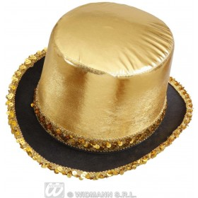 Top Hat Gold Lame' With Sequin Trim - Fancy Dress