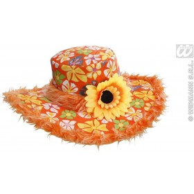 Ibiza Hat W/ Plush Trim & Sunflower, Orange Fancy Dress