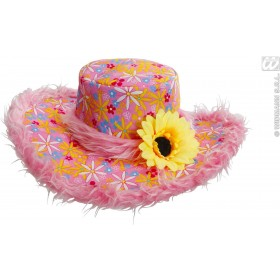 Ibiza Hat W/ Plush Trim & Sunflower, Pink, Fancy Dress
