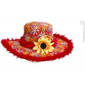 Ibiza Hat W/ Plush Trim & Sunflower - Red - Fancy Dress