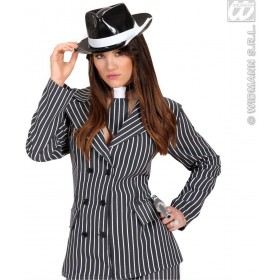 Pvc Gangster Hat With White Band - Fancy Dress