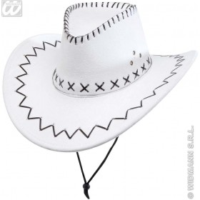 Suedelook White Cowboy Hat - Fancy Dress (Cowboys/Indians)