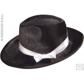 Gangster Hat Velvet W/Satin Ribb Black - Fancy Dress