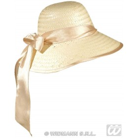 Straw Chicago Hat W/Ribbon - Fancy Dress