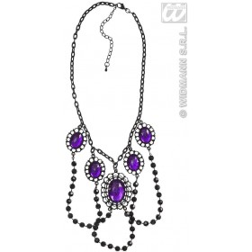 Black Beaded Chokers W/Purple Gems - Fancy Dress