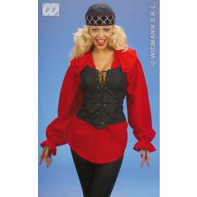 Corset Suedette Blk/Brown Fancy Dress Costume
