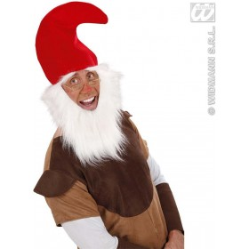 Gnome Hat With Beard & Eyebrows - Fancy Dress (Animals)