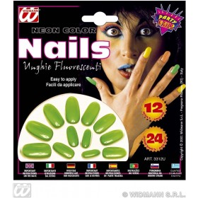 Neon Nails Set 12 W/24 Adhes 4 Col Asstd - Fancy Dress