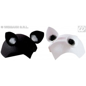 Cat Cap Felt Blk Or White - Fancy Dress