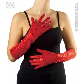 Sequin Gloves 41Cm Blk/Red/White/Blue - Fancy Dress