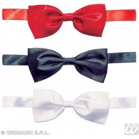 Satin Bow Tie Red/Blk/Wht - Fancy Dress