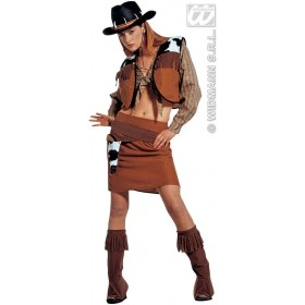 Western Cow, Girl With Shirt, Vest, Skirt, Belt Costume (Cowboys/Indians)