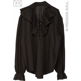Pirate Shirt Mens Black Fancy Dress Costume (Pirates)