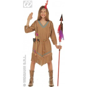 Cheyenne With Dress W/Belt, Headband W/Feather Costume